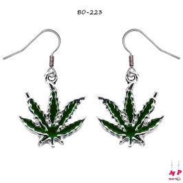 Boucles d'oreilles pendantes feuilles de cannabis vertes foncées