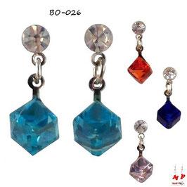 Boucles d'oreilles cubes zirconium pendants et strass