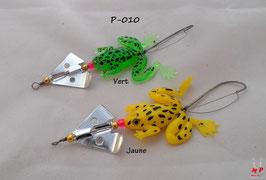 Leurre souple grenouille à helice verte ou jaune