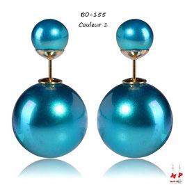 Boucles d'oreilles double perles nacrées
