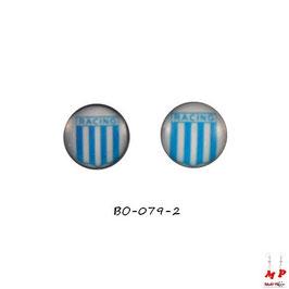 Boucles d'oreilles acier logo RACING bleu ciel et blanc