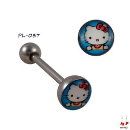 Piercing langue logo Hello Kitty sur fond bleu