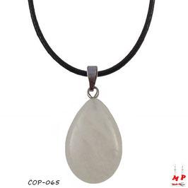 Collier à pendentif goutte d'eau en pierre de quartz
