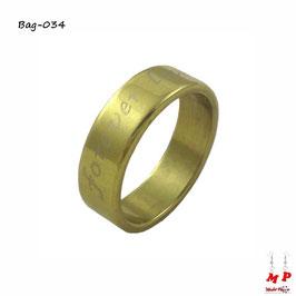 Bague anneau doré à écriture forever love en acier chirurgical