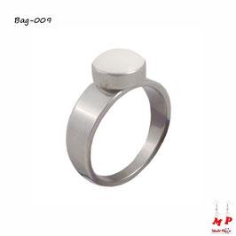 Bague anneau argenté à pierre ronde blanche en acier inoxydable