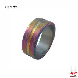 Bague anneau infini arc-en-ciel en acier chirurgical