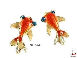 Boucles d'oreilles poissons rouges aux yeux bleus