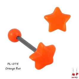 Piercing langue étoile orange fluo en acrylique