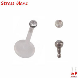 Piercing labret bioflex strass blanc 8mm