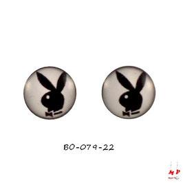 Boucles d'oreilles Playboy noir et blanc