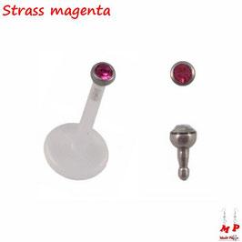 Piercing labret bioflex strass magenta 8mm