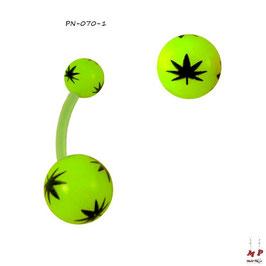 Piercing nombril bioflex à boules acryliques feuilles de cannabis