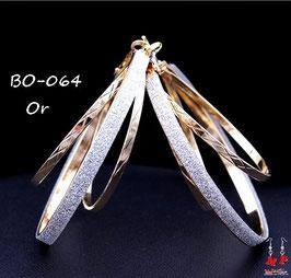 Boucles d'oreilles triple anneaux dorés ou argentés