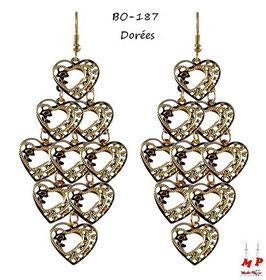 Boucles d'oreilles pendantes coeurs dorés ou argentés