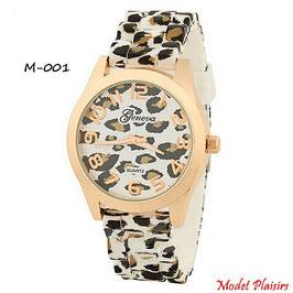 Montre femme à aiguilles Geneva léopard
