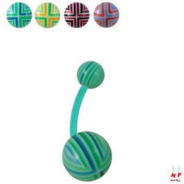 Piercing nombril bioflex boules acryliques à quadrillages