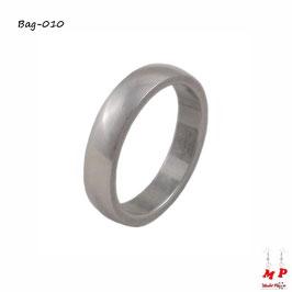 Bague anneau argenté 4mm en acier chirurgical