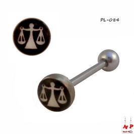 Piercing langue logo à signe balance blanche et noire en acier