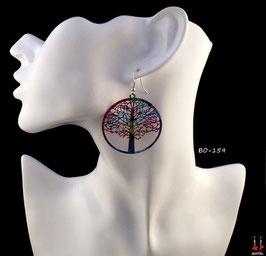Boucles d'oreilles pendantes rondes motifs arbres multi-couleurs en filigrane