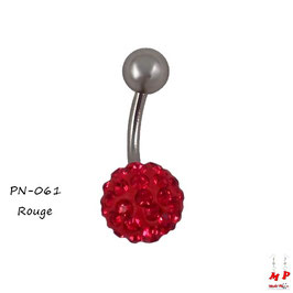 Piercing nombril shamballa rouge