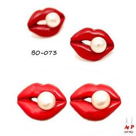 Boucles d'oreilles lèvres rouges et perles nacrées