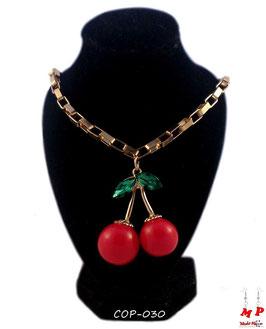 Collier à pendentif cerise rouge acrylique