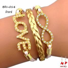 Bracelet love et infini doré ou bleu en similicuir