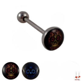 Piercing langue logo tête de mort en acier chirurgical