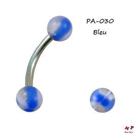 Piercing arcade boules acrylique bleues et translucides