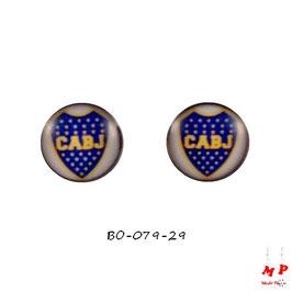 Boucles d'oreilles acier logo Boca Juniors
