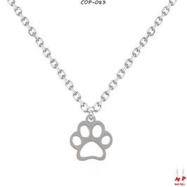 Collier à pendentif à patte de chien argentée en acier chirurgical