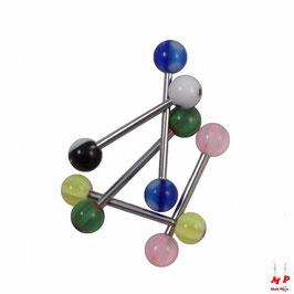 Lot de 5 piercings langues à boules acryliques