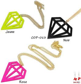 Collier à pendentif diamant fluo trois couleurs