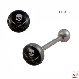 Piercing langue logo tête de mort pirate en acier chirurgical