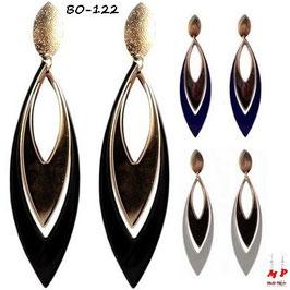 Boucles d'oreilles plumes pendantes dorées et couleurs en métal