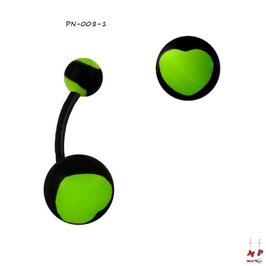 Piercing nombril bioflex boules acryliques à coeurs