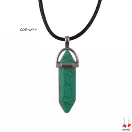 Collier à pendentif hexagonal en pierre turquoise
