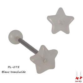 Piercing langue étoile blanche translucide en acrylique