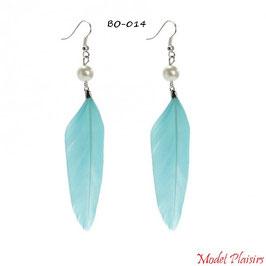 Boucles d'oreilles plumes bleues ciel pendantes et perles nacrées
