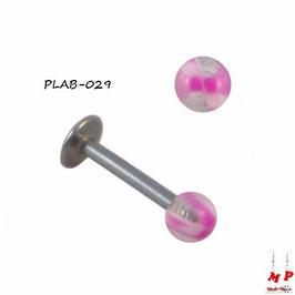 Piercing labret boule translucide et rose