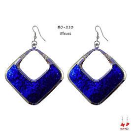 Boucles d'oreilles pendantes argentées à paillettes brillantes rouges ou bleues