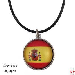 Collier à pendentif drapeau de l'Espagne, cabochon en verre