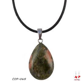 Collier à pendentif goutte d'eau en pierre d'unakite