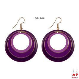 Boucles d'oreilles pendantes créoles rondes violettes et dorées