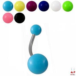 Piercings nombrils à boules acryliques unicolores