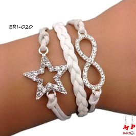 Bracelet infini blanc et son étoile sertie de strass