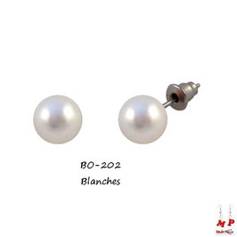 Boucles d'oreilles grosses perles nacrées 12mm