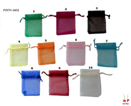 Pochettes cadeaux organza 7x9cm 10 couleurs