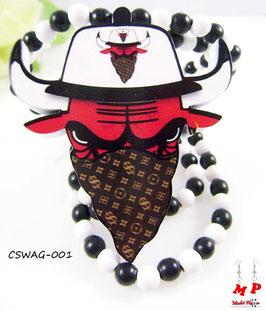 Collier en bois et pendentif taureau Chicago Bulls masqué