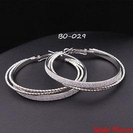 Boucles d'oreilles triple anneaux serrés argentés ou dorés